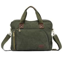 KAUKKO FJ24 Fashion WalkingZone 13-14 inch Canvas Briefhoesje Laptop Tablet Notebook Bag Crossbody Bag Shoulder Bag Hand Bag Messenger Bag, Size: 30 x 41 x 9 cm(Army Green)