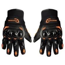 Een paar Cyclegear CG666 One-touch ademend Wearable volledige vinger beschermende buiten motorfiets handschoenen  maat: M(Black+Orange)