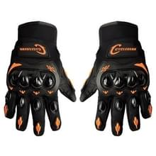 Een paar Cyclegear CG666 One-touch ademend Wearable volledige vinger beschermende buiten motorfiets handschoenen  maat: L(Black+Orange)