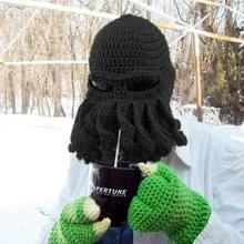 Amurleopard Unisex Barbarian gebreide muts Octopus tentakel Cap Winter Warm gezicht masker gehaakte Hat(Black)
