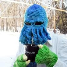 Amurleopard Unisex Barbarian gebreide muts Octopus tentakel Cap Winter Warm gezicht masker gehaakte Hat(Blue)