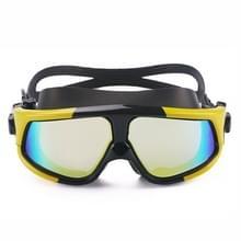 Kleurrijke grote Frame galvaniseren anti-mist siliconen zwemmen Goggles voor volwassenen (gele + zwarte)