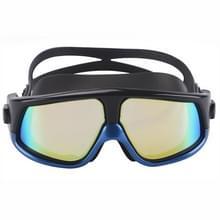 Kleurrijke grote Frame galvaniseren anti-mist siliconen zwemmen Goggles voor volwassenen (blauw + zwart)