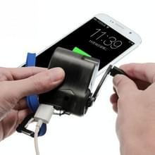 Buiten noodsituaties draagbare Hand Power Dynamo Hand Crank laden USB lader (zwart)