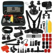 [UK Stock] PULUZ 53 in 1 Accessories Total Ultimate Combo Kits with EVA Case (Chest Strap + Suction Cup Mount + 3-Way Pivot Arms + J-Hook Buckle + Wrist Strap + Helmet Strap + Extendable Monopod + Surface Mounts + Tripod Adapters + Storage Bag + Handlebar