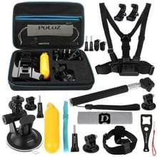 [UK Stock] PULUZ 20 in 1 Accessories Combo Kits with EVA Case (Chest Strap + Head Strap + Suction Cup Mount + 3-Way Pivot Arm + J-Hook Buckles + Extendable Monopod + Tripod Adapter + Bobber Hand Grip + Storage Bag + Wrench) for GoPro HERO6 /5 /5 Session /