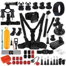 PULUZ 53 in 1 accessoires totale ultieme Combo Kits (borstband + zuignap Mount 3-weg Pivot wapens + J-Hook gesp + polsband + helm Strap + uitschuifbare Monopod + oppervlakte Mounts + statief Adapters + tas + stuurhouder) voor GoPro nieuwe held /HERO6 /5 /