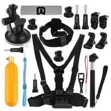 PULUZ 20 in 1 accessoires Combo Kits (borstband + hoofd riem zuignap Mount + 3-weg zwenkarm + J-Hook gespen + uitschuifbare Monopod + statief Adapter + Bobber handgreep + tas + moersleutel) voor GoPro nieuwe held /HERO6 /5 /5 sessie /4 sessie /4 /3+/3 /2
