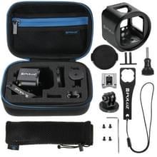 PULUZ 14 in 1 CNC Aluminum Cage Combo Kit met EVA case (Metalen moersleutel + Lens cap dop + schroeven + Tripod Adapter + Adapter Base + opbergtas) voor GoPro HERO4 Session