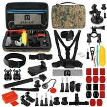 [UK Stock] PULUZ 53 in 1 Accessories Total Ultimate Combo Kits with Camouflage EVA Case (Chest Strap + Suction Cup Mount + 3-Way Pivot Arms + J-Hook Buckle + Wrist Strap + Helmet Strap + Extendable Monopod + Surface Mounts + Tripod Adapters + Storage Bag