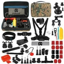 PULUZ 53 in 1 Accessories Total Ultimate Combo Kits with Camouflage EVA Case (Chest Strap + Suction Cup Mount + 3-Way Pivot Arms + J-Hook Buckle + Wrist Strap + Helmet Strap + Extendable Monopod + Surface Mounts + Tripod Adapters + Storage Bag