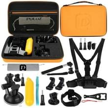 [UK Stock] PULUZ 20 in 1 Accessories Combo Kits with Orange EVA Case (Chest Strap + Head Strap + Suction Cup Mount + 3-Way Pivot Arm + J-Hook Buckles + Extendable Monopod + Tripod Adapter + Bobber Hand Grip + Storage Bag + Wrench) for GoPro HERO6 /5 /5 Se
