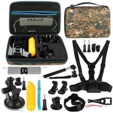 [US Stock] PULUZ 20 in 1 Accessories Combo Kits with Camouflage EVA Case (Chest Strap + Head Strap + Suction Cup Mount + 3-Way Pivot Arm + J-Hook Buckles + Extendable Monopod + Tripod Adapter + Bobber Hand Grip + Storage Bag + Wrench) for GoPro HERO6 /5 /