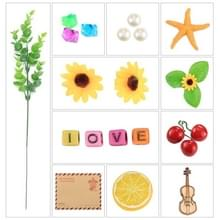 PULUZ 23 in 1 Photography Props (Retro Envelope + Crystal Stone + Pearl + Starfish + Pine Nuts + Violin + Alphabet LOVE + Sunflower + Plant Tree + Oranje Piece + Kersen)