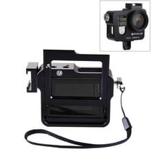 PULUZ huisvesting Shell CNC aluminiumlegering beschermings Cage met verzekering Frame & lensdop voor GoPro HERO4(zwart)
