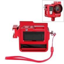 PULUZ Behuizing CNC Aluminium Kooi beschermings voor Verzekering Frame & Lensdop voor GoPro HERO4 (rood)