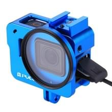 [UK Stock] PULUZ for GoPro HERO6 /5 Housing Shell CNC Aluminum Alloy Protective Cage with 52mm UV Lens(Blue)