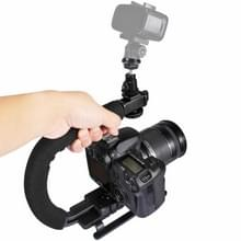 PULUZ U/C Shape Portable Handheld DV Bracket Stabilizer Kit with Cold Shoe Tripod Head & Phone Clamp & Quick Release Buckle & Long Screw for All SLR Cameras and Home DV Camera