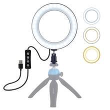 PULUZ 6 2 inch USB 3 modi Dimbare LED ring on-camera video lichten met koude schoen statief bal hoofd