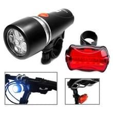 5 LED Water resistent fiets fiets hoofd licht + achterzijde veiligheid zaklamp