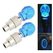 2 x schedel gevormde ventiel Cap licht wiel band Lamp voor auto / motor / Bike(Blue)