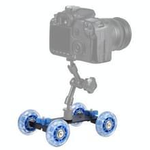 Vloer tabel Video schuifregelaar Track Dolly auto voor DSLR Camera (blauw)