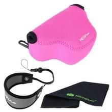 NEOpine Neopreen Camera Tas Hoes + Polsriem + Schoonmaak Set voor Samsung NX3000 Camera 20-50mm Lens (roze)