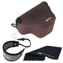NEOpine Zachte Neopreen Camera Opbergtas + Handriem + Schoonmaakdoekje voor Samsung NX3000 Camera met 20-50mm Lens (bruin)