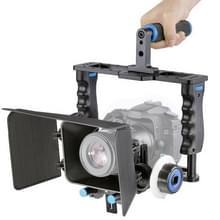 YELANGU YLG1103A-B Video Camera Kooi Stabilisator met grote Handgreep + Matte Box Set voor DSLR / Video Camera