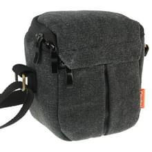 Portable Digital Camera Canvas Bag with Strap  Size: 13.5cm x 9cm x 14cm(Black)