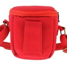 Portable Digital Camera Canvas Bag with Strap  Size: 13.5cm x 9cm x 14cm(Red)