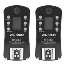 YONGNUO RF605C 2x Draadloze Flitser Trigger met 2x LS-2.5 ontspanknop verbindingskabel voor Canon Camera (zwart)