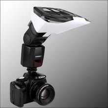 Universele FB-10X Camera Flitser Speedlite Bounce Focus Flitslicht Diffuser met 3 verwisselbare gekleurde licht Reflectoren (zwart)