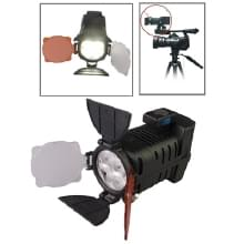 4 led video licht ontmoette twee kleur transparant filter cover (tawny / wit), eu plug batterij / accu laadr (led-5005)