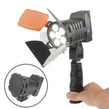 6 led video licht ontmoet greep / twee kleur transparant cover filteren (tawny / wit), eu plug / ons stekker batterij / accu laadr (led-5010)