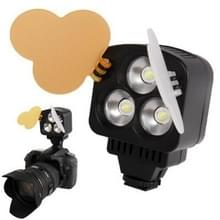 3 LED Videolamp voor Camera / Video Camcorder met 2 kleurtemperaturen transparante films