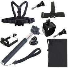 Borstriem pols riem + hoofd riem + Selfie Monopod + telefoons Mount + Carry Bag instellen voor GoPro HERO4 /3+ /3 /2 /1 / SJ4000