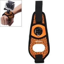 Sexy luipaard 360 graden draaiende arm riem / pols strap + bevestigings connector voor GoPro HERO 4 Session 6 / 5 / 4 / 3 + / 3 / 2 / 1 /1 & Xiaomi Yi Sport Camera(Oranje)