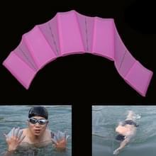 Siliconen zwemmen Web vinnen Hand Flippers Training handschoenen  S(Magenta)