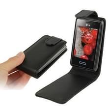 Pure Kleur Vertical Flip lederen hoesje voor LG Optimus L3 II / E430 (zwart)