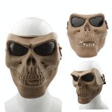 Hoge intensiteit angstaanjagende kwaad gezichtsmasker skelet Anti BB bom tactische gezichtsmasker met elastische banden (bruin)