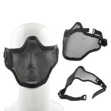 Halve netto Mesh stijl bescherming gezichtsmasker met elastische riem & Velcro (zwart)