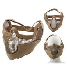 Tactische stalen netto Mesh stijl beschermen met elastische riem & Velcro masker voor buiten oorlogsspel activiteit (Khaki)