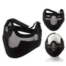 Tactische stalen netto Mesh stijl beschermen met elastische riem & Velcro masker voor buiten oorlogsspel activiteit (zwart)