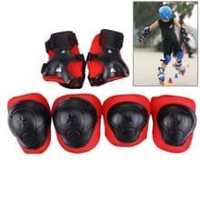 6 in 1 rolschaatsen knie & elleboog & pols Pads beschermende kleding Sets(Black)