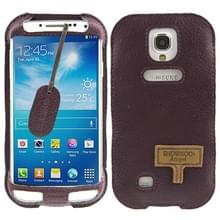 SHOWKOO Angel series Lichi structuur Vertical Style Snap Button lederen hoesje met Oproepweergave ID & Lanyards voor Samsung Galaxy S IV / i9500(paars)