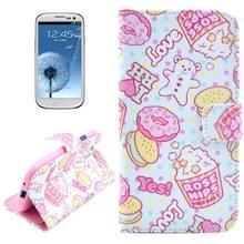 Food patroon lederen hoesje met opbergruimte voor pinpassen & houder voor Samsung Galaxy S III / i9300