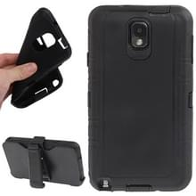 Samsung Galaxy Note III / N9000 Kunststof + Siliconen combinatie Hoesje met schermprotector en riem clip houder (zwart)
