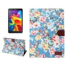 Samsung Galaxy Tab A 9.7 / T550 horizontaal Bloemen patroon Kleding structuur PU leren Flip Hoesje met houder en opbergruimte voor pinpassen & geld (blauw)