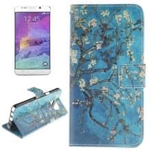 blauw achtergrond abrikoos bloesem boom patroon dubbele Print horizontaal spiegelen lederen hoesje ontmoette houder & opbergruimte voor pinpassen & portemonnee voor Samsung Galaxy Note 5